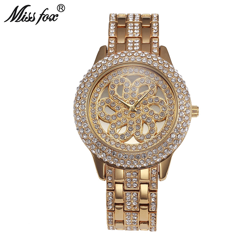 Miss Fox Gold Rose Watch Women Rhinestone Watch Luxury Brand Crystal Golden Clock Woman Watches Xfcs Waterproof Shockproof Hours