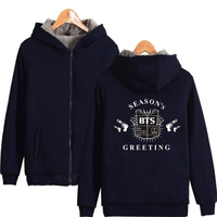 Korean KPOP BTS Zip Thick Warm Baseball Jacket Women Bangtan Boys Hooded Sweatshirt Winter Female Fans
