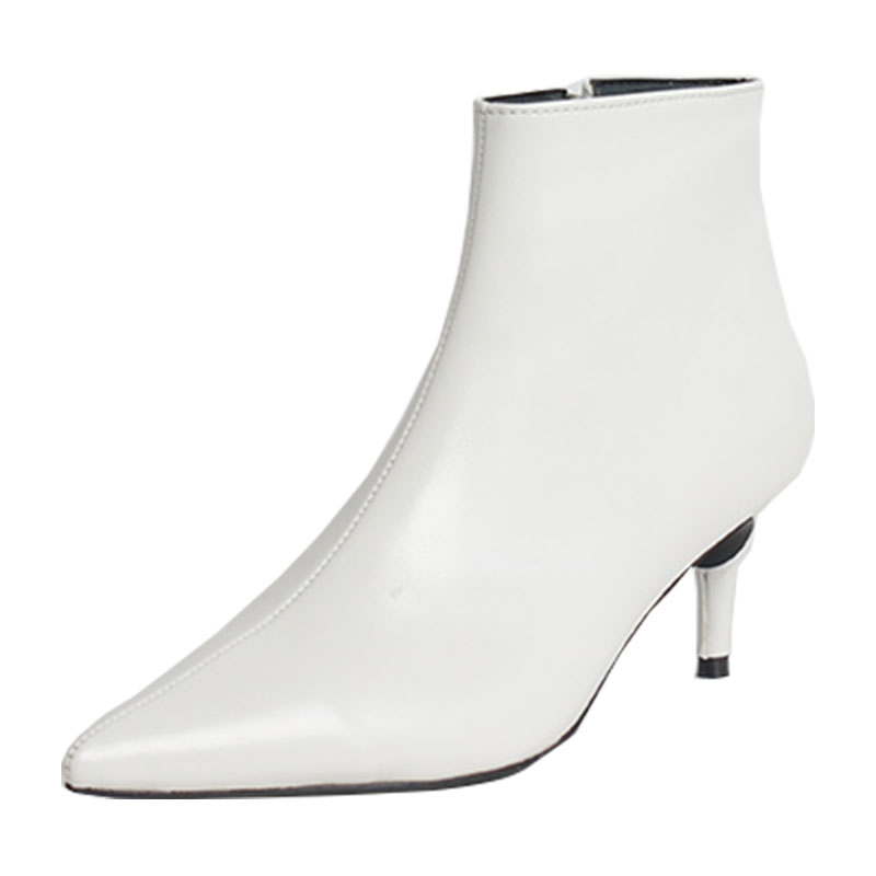 2018 autumn and winter new style with fine pointed high heels Martin boots white boots leather boots Women's boots spring wedgie