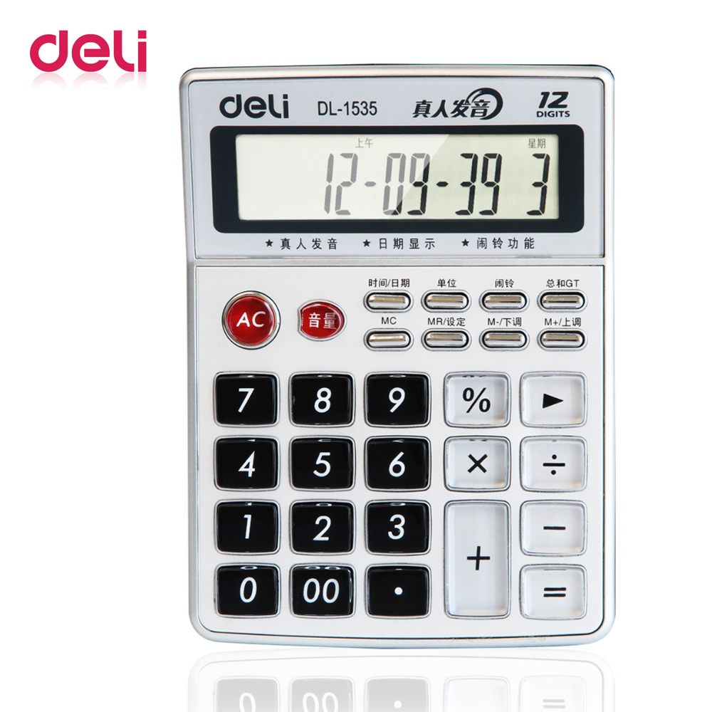 Deli 1pcs Power voice calculator 12 computer big screen reality articulation financial supplies office stationery 1535 image