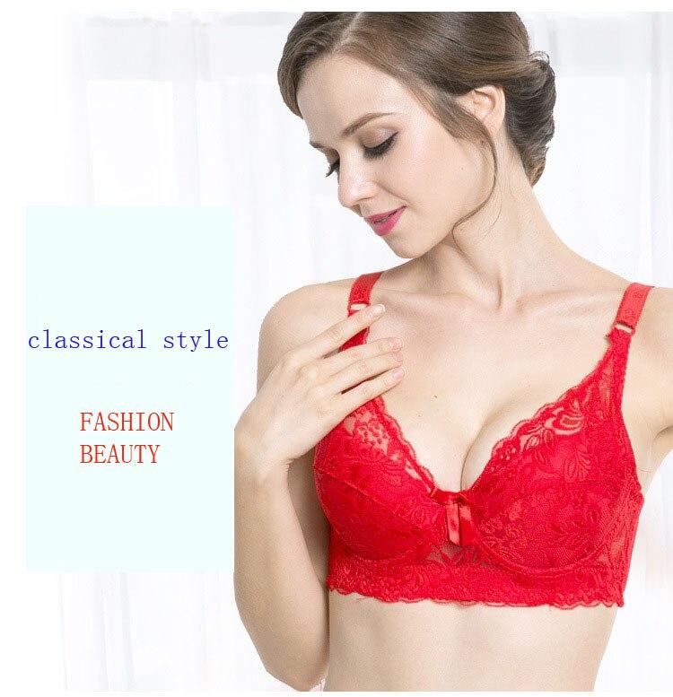 Plus size Foreign Trade Ultra-thin Lace Sexy Thin Cotton Cup Plump Big Push Up Bra Bralette Encaje Sexy Bra modis lingerie 27