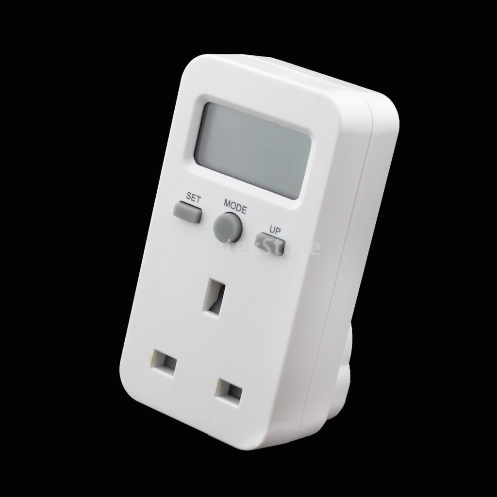 UK Plug-in Energy Power Watt Volt Amps Meter Electrical energy Utilization LCD Monitor