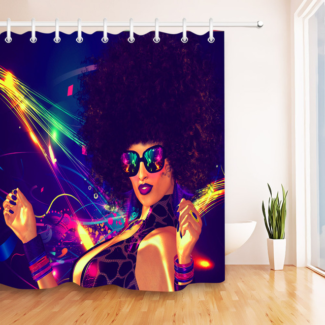 LB Bathroom Curtains Digital 3D Printing Waterproof African American Shower Curtain Afro Girl Polyester Fabric For