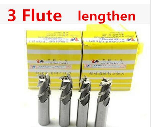 Free shipping High Quality 5pcs 3.0~10.0mm Extended End Mill  3 Flute HSS & Aluminium End Mill Cutter CNC Bits(China)