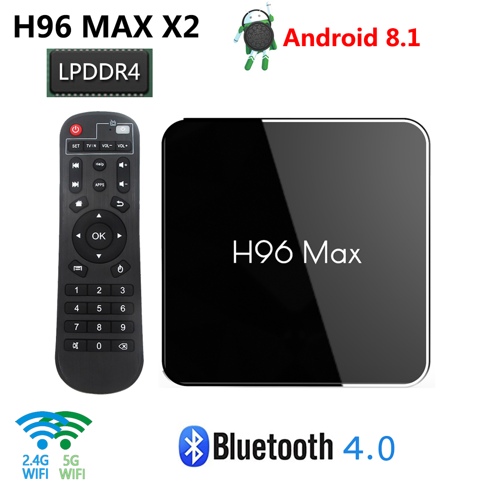 H96 MAX X2 Android 8 1 TV Box DDR4 4GB RAM 64GB ROM Amlogic S905X2 Quad