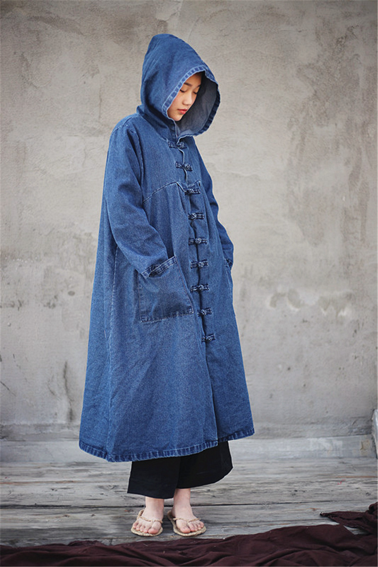 Big Blue Cardigan Nini Coat Autumn Hooded Size Women Female Cowboy Plus Wonderland Spring Trench 2019 Dark Denim wqvp6xBZv