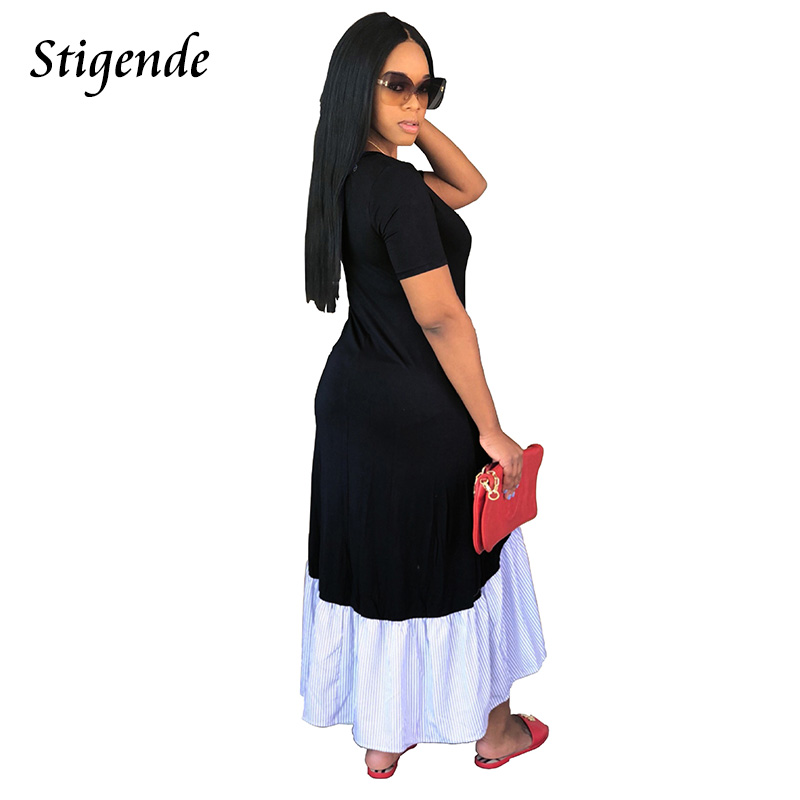 Stigende PLUS SIZE Women Casual Loose Dress Maxi Short Sleeve Striped  Patchwork Long Dress Elegant Sexy O Neck Summer Sundresses-in Dresses from  Women s ... e56c8c906710