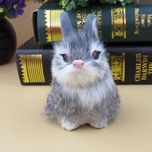 Simulation gray rabbit polyethylene&furs rabbit model funny gift about 8cmx8cmx12cm