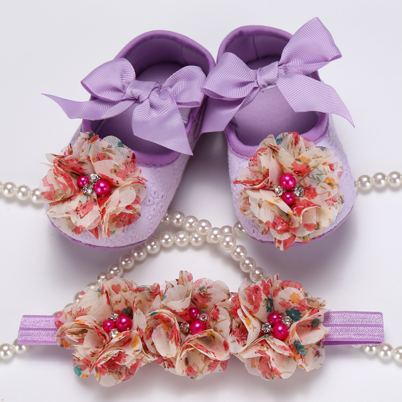 Party Rhinestone pearl baby shoes crown headband baptism set 2d52cb2c05aa