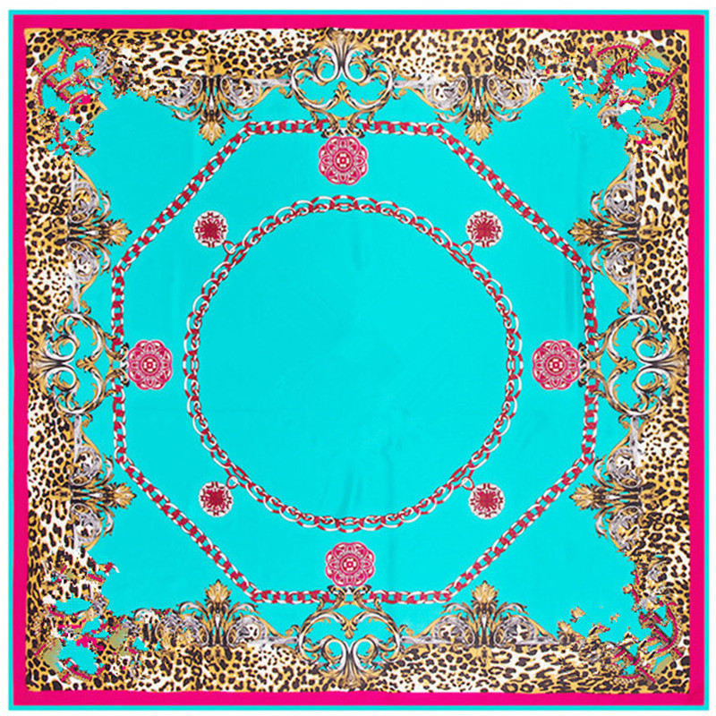 Luxury Brand Giant Scarf In 100% Silk Twill Silk Scarf For Women,Leopard Paisley Print Large 130cm Square Scarves Female Hijab