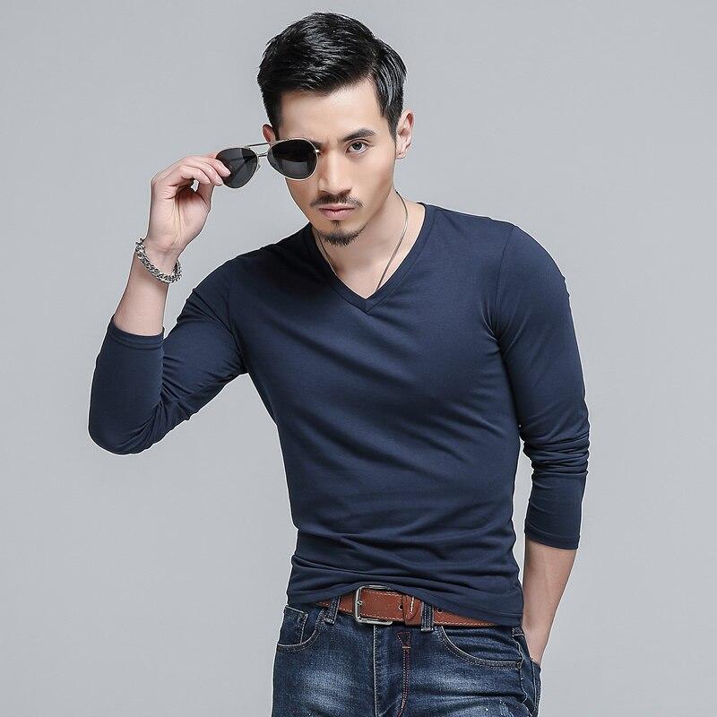 100 cotton mens t shirts fashion 2016 casual v neck long for 100 cotton v neck t shirts wholesale