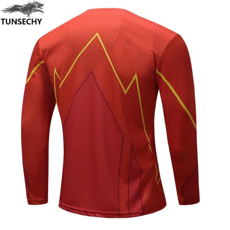Flash Merah 3D Dicetak T-shirt Pria Raglan Lengan Kompresi 2019 Lengan Panjang Kemeja Pria Cosplay Kostum