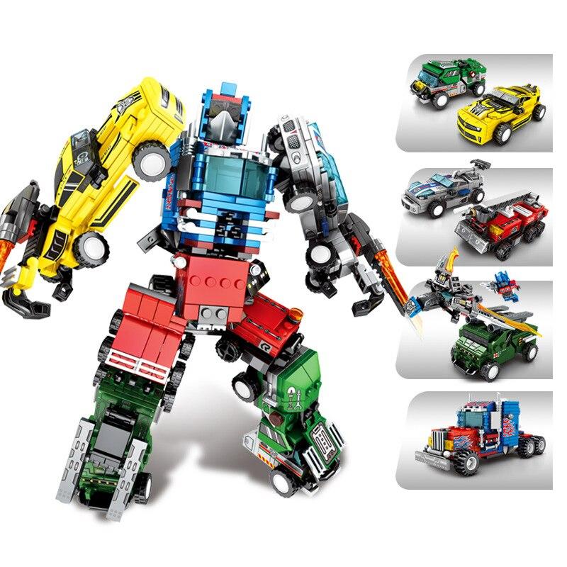 Sembo Blocks Juguetes  King Kong Transfomred Car Robot Optimus Prime Models Educational Bricks  Kids Gift For Boys