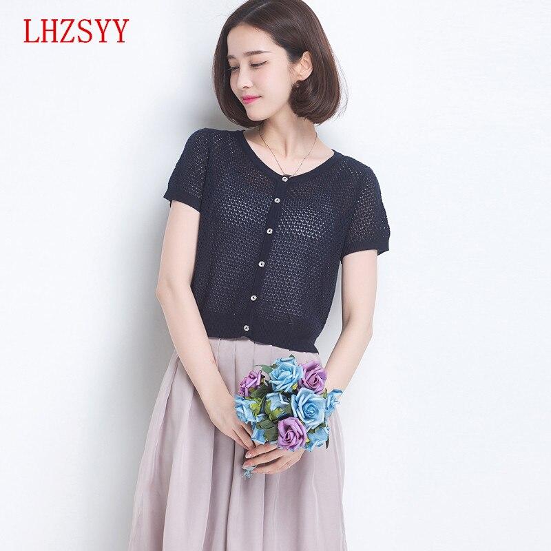 Lhzsyy nueva knit Cardigan sección delgada acondicionado jersey de seda camisa d