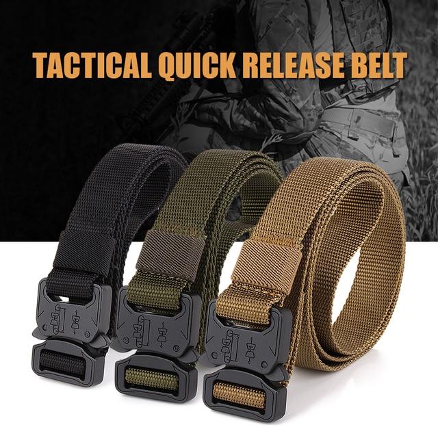 Lixada Tactical Training Hunting Belt Quick Release Belt Heavy Duty Buckle Outdoor Camping Belt Mountaineering Climbing Belt