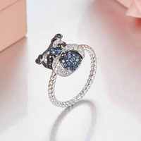Adorable Puppy rings 2018 Lastest Design Twist Thin Cable Band 925 sterling silver Cute Fancy Dog pet Jewelry rings For Women