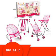 4 in 1 Baby Children Foldable High Dinning Chair Swing Chair Stroller Cot Bed Dolls Toys Set Gift box Pretend Play funiture Toys