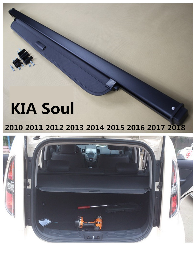 Rear Trunk Security Shield Cargo Cover For KIA Soul 2010 2011 2012 2013 2014 2015 2016 2017 2018 High Qualit Auto Accessories car auto accessories rear trunk trim tail door trim for subaru xv 2009 2010 2011 2012 2013 2014 abs chrome 1pc per set