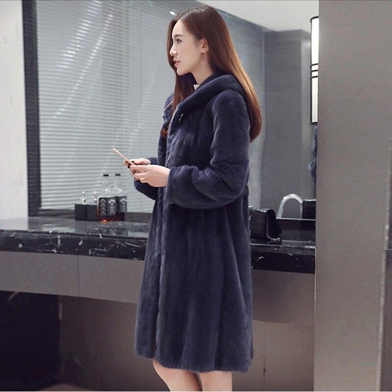 Haute De Faux Manteau Femmes À Vêtements D'hiver Mode Capuchon Dames Fourrure Royal Imitation Vison Nouvelle 6xl Bleu S ZiuPXTkOw