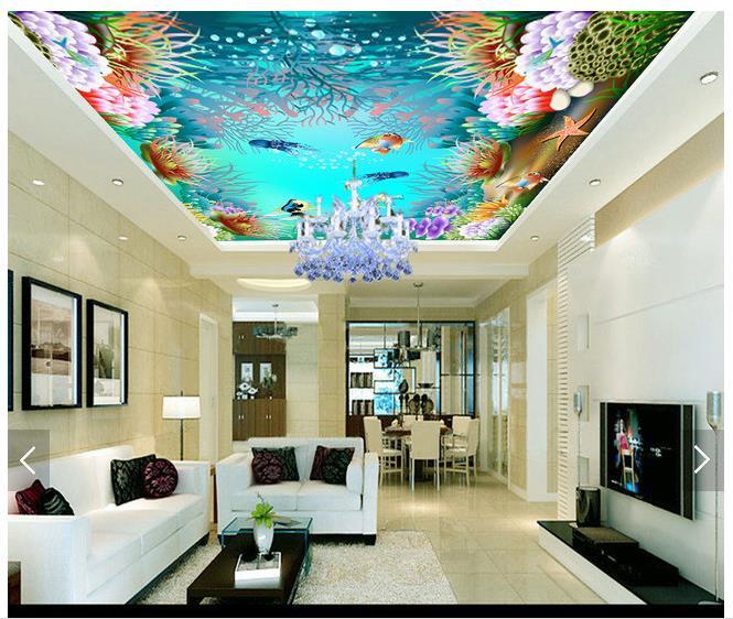 US $12.05 54% OFF Custom 3d decke tapete wandmalereien 3d decke zenit  wandbild ozean aquarium abgehängte decke wandbild 3d wohnzimmer foto  tapete-in ...