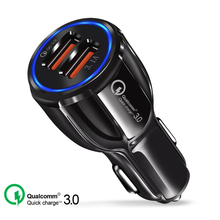 20 PCS Quick Charge 3.0 Charger QC 5V 9V 12V Dual USB Car Fast Mobile Phone Travel Adapter Car-charge