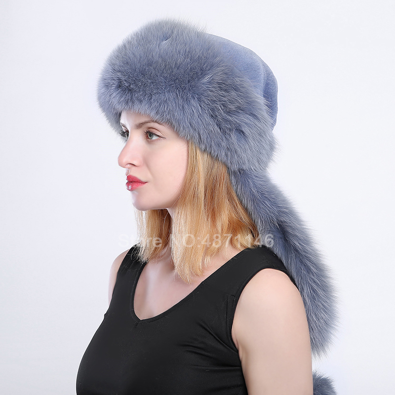 New women lady winter Rhinestones real natural fox fur hats Whole Fox Tails Warm Mongolian fur scarf hats caps Skullies Beanies