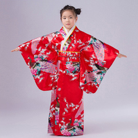 Red Japanese Style Baby Girl Kimono Gown Vintage Children Kid Yukata Performance Dance Dress Child Cosplay Costume NK027