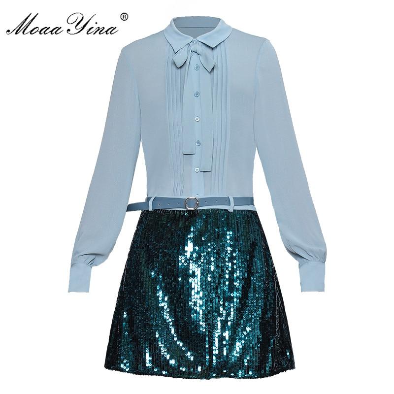 MoaaYina Fashion Designer Set Spring Summer Women Long sleeve Ruched Shirt Tops Sequin Belt Short skirt