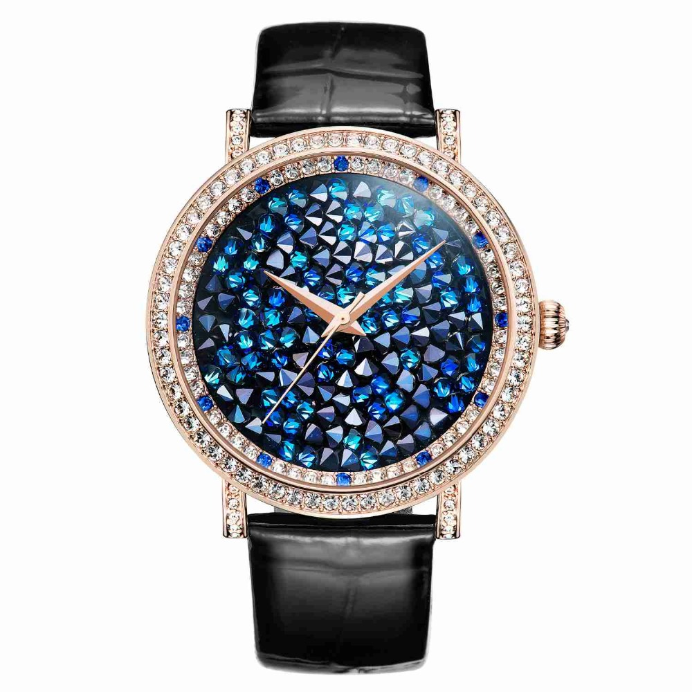 MATISSE Fashion Lady Full Crystal Dial Leather Strap Buiness Quartz Watch Wristwatch Gold