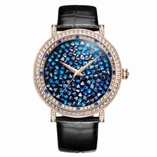 MATISSE Fashion Lady Full Crystal Dial Leather Strap Buiness Quartz Watch Wristwatch — Gold