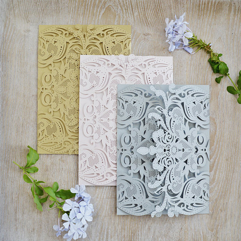 100pcs Laser Cut Wedding Invitations Gatefold DIY Exquisite Elegant Lace Paper Invite Cover for Wedding Bridal