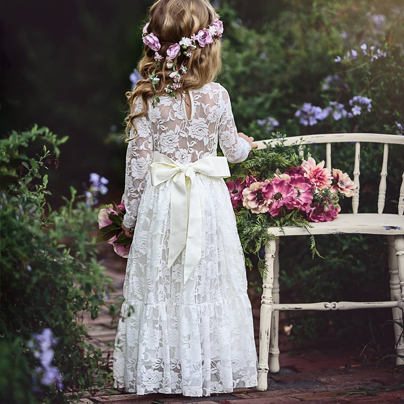 Kids Girl Dress Summer Autumn 2019 Lace Embroidered White Dress Bow Lace Dresses Pageant Princess  Bridesmaids Children Dress