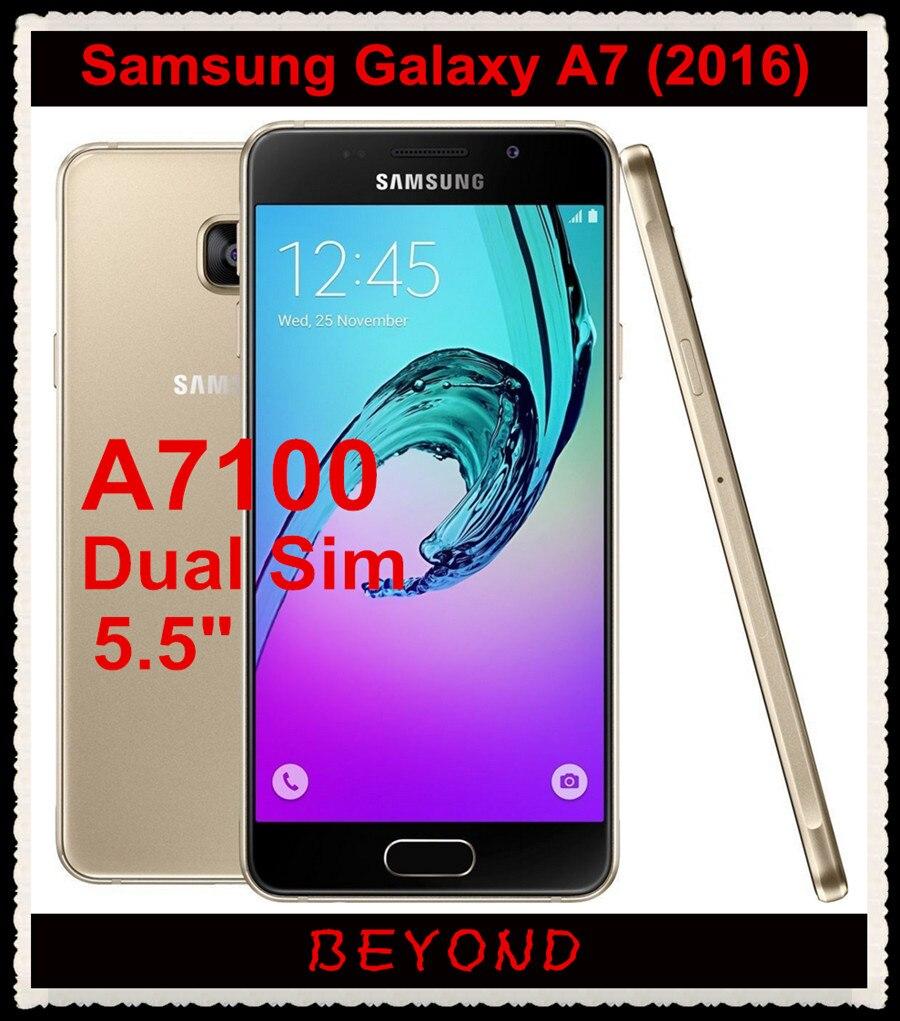 """bilder für Samsung Galaxy A7 A7100 2016 Ursprünglicher Freigesetzter 4G LTE Android Handy Dual Sim Octa Core 5,5 """"13MP RAM 3 GB ROM 16 GB 3300 mAh"""