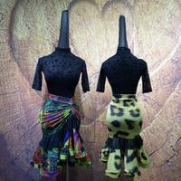 Women Adult Female Latin Dance Dress Net Yarn Dress Rumba Cha cha Samba Latin Dance Skirt Latin Dance Dress Suit