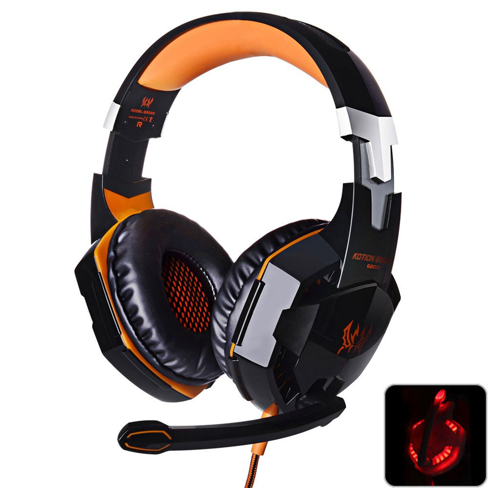 KOTION EACH G2000 Gaming Headset Deep Bass Computer Game Headphones with microphone LED Light for computer PC Gamer high quality each g2000 gaming headset deep stereo bass computer game headphones with microphone led light for computer pc gamer