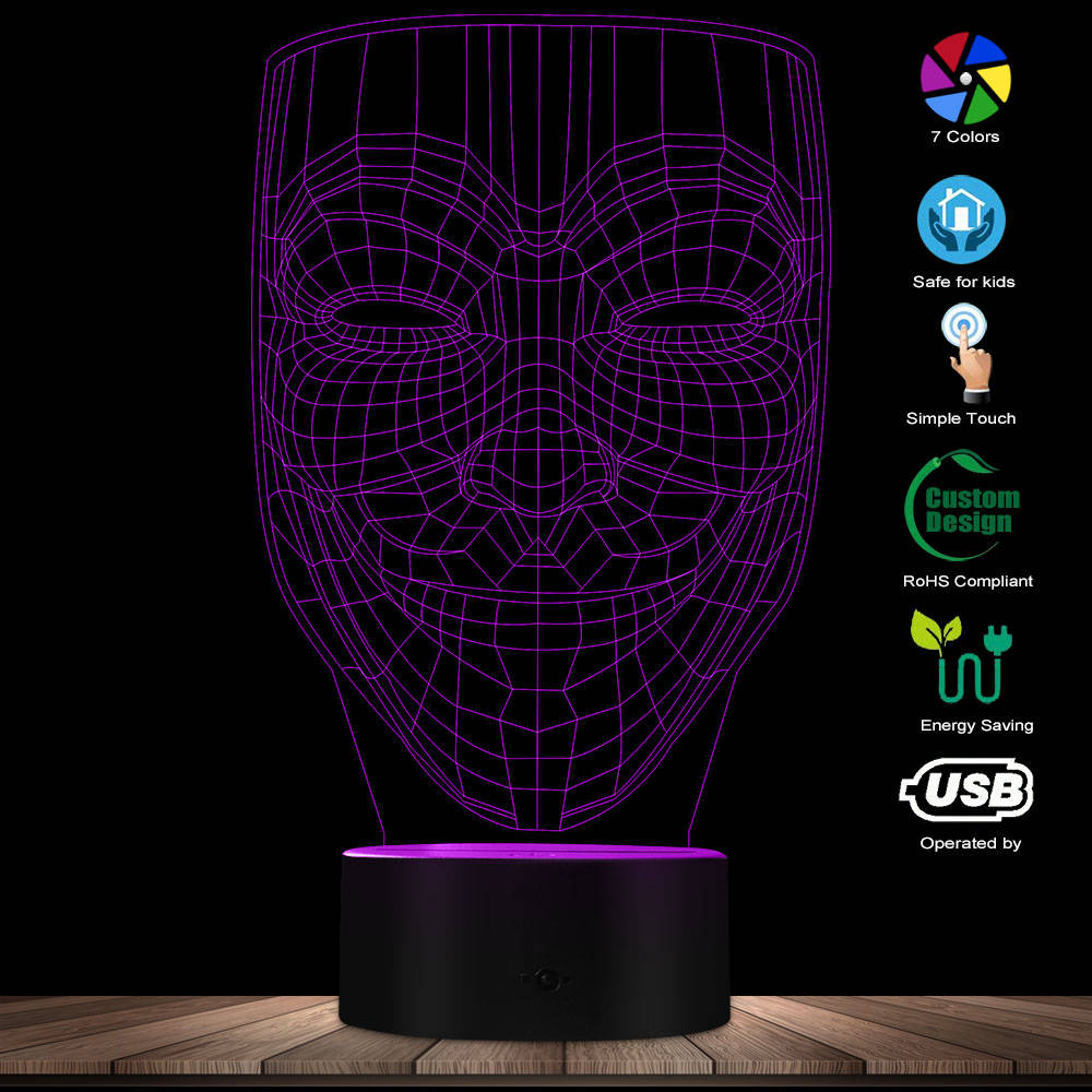 3D Effect Anonymous Guy Fawkes Mask Shape Designed Visual Lamp V For Vendetta 3D Optical Illusion Novelty Night Light Table Lamp