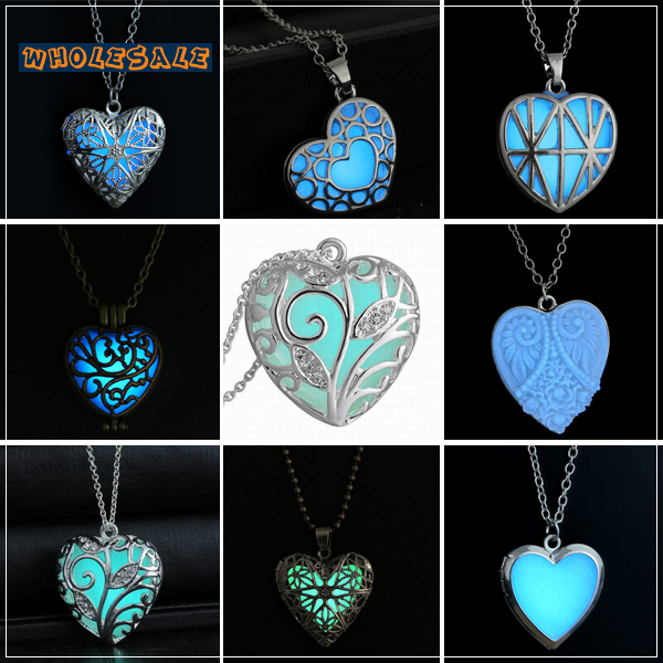 Valentine day gifts heart shapes glowing in dark necklace blue valentine day gifts heart shapes glowing in dark necklace blue antique bronze silver lovers pendant jewelry 30pcslot wholesale in pendant necklaces from mozeypictures Gallery
