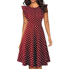 Sleeper #401 2019 NEW FASHION Women Vintage Dot Printed Ruffle Sleeveless Casual Cocktail Party