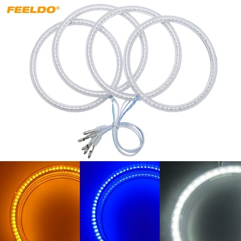 FEELDO 1Set(4*120mm) Auto SMD Angel Eyes Light Halo Rings DRL For BMW E30/E32/E34 Headlight White Yellow Blue #AM4746 image