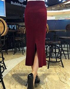 Image 3 - Kobiety z powrotem rozcięcie Bodycon elegancka spódnica ołówkowa Midi jesień zima z dzianiny w stylu Casual spódnica spódnice z wysokim stanem kobiet Jupe Femme Faldas