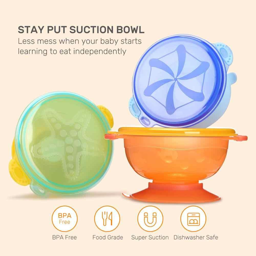 Bonito pedra Spill-Proof TPE Sucção BPA Livre Antiderrapante para Crianças Bebê de Alimentação Tigelas Tigelas com 3 2 colheres Garfo 1 1 Estojo de Viagem