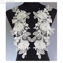 Gratis Pengiriman 1 pair x New 3D Handmade Gading/Offwhite Beaded Payet Bunga Bordir Organza Lace Appliques Potong Patch BNC134A(China)