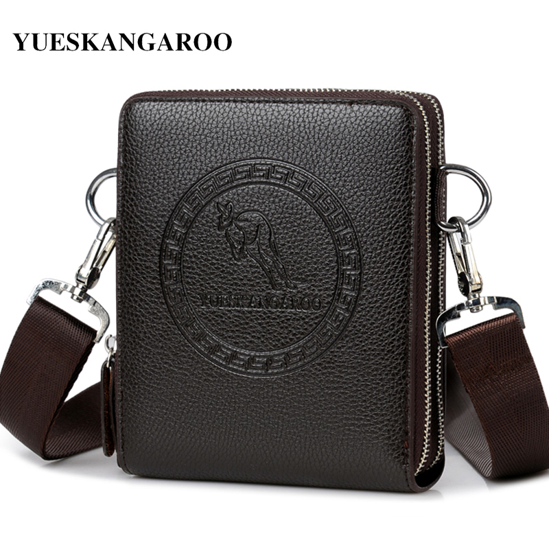 YUES KANGAROO Brand Men Bag Leather Casual High Quality Shoulder Crossbody Bags Classical Business Briefcase Mens Messenger Bag high quality casual men bag