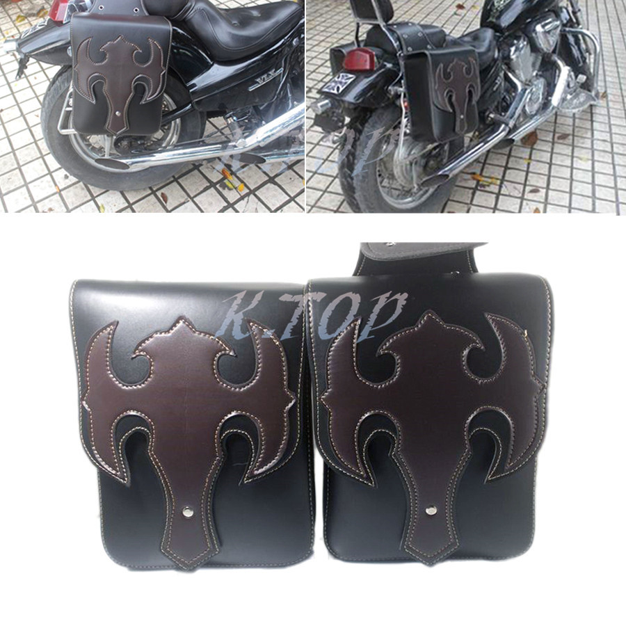 2Pcs Black Motorcycle Saddle Bags Faux Leather Side Tool Bag Luggage Bags For Harley
