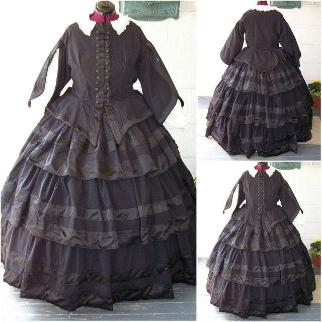 HistoricalCustomer-made BLACK 1800S Victorian dress 1860s Civil war Dress Vintage Costumes Southern Belle Prom & HistoricalCustomer made BLACK 1800S Victorian dress 1860s Civil war ...
