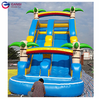 Playground dry slides inflatable bouncer slide,0.55mm pvc giant inflatable slide with pool