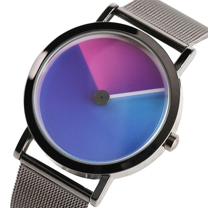 Geek Stylish Men Watch Creative Colorful Vortex Dial Stainless Steel Mesh Band Minimalist Spiral Quartz Wristwatch Sci-fi Clocks (3)