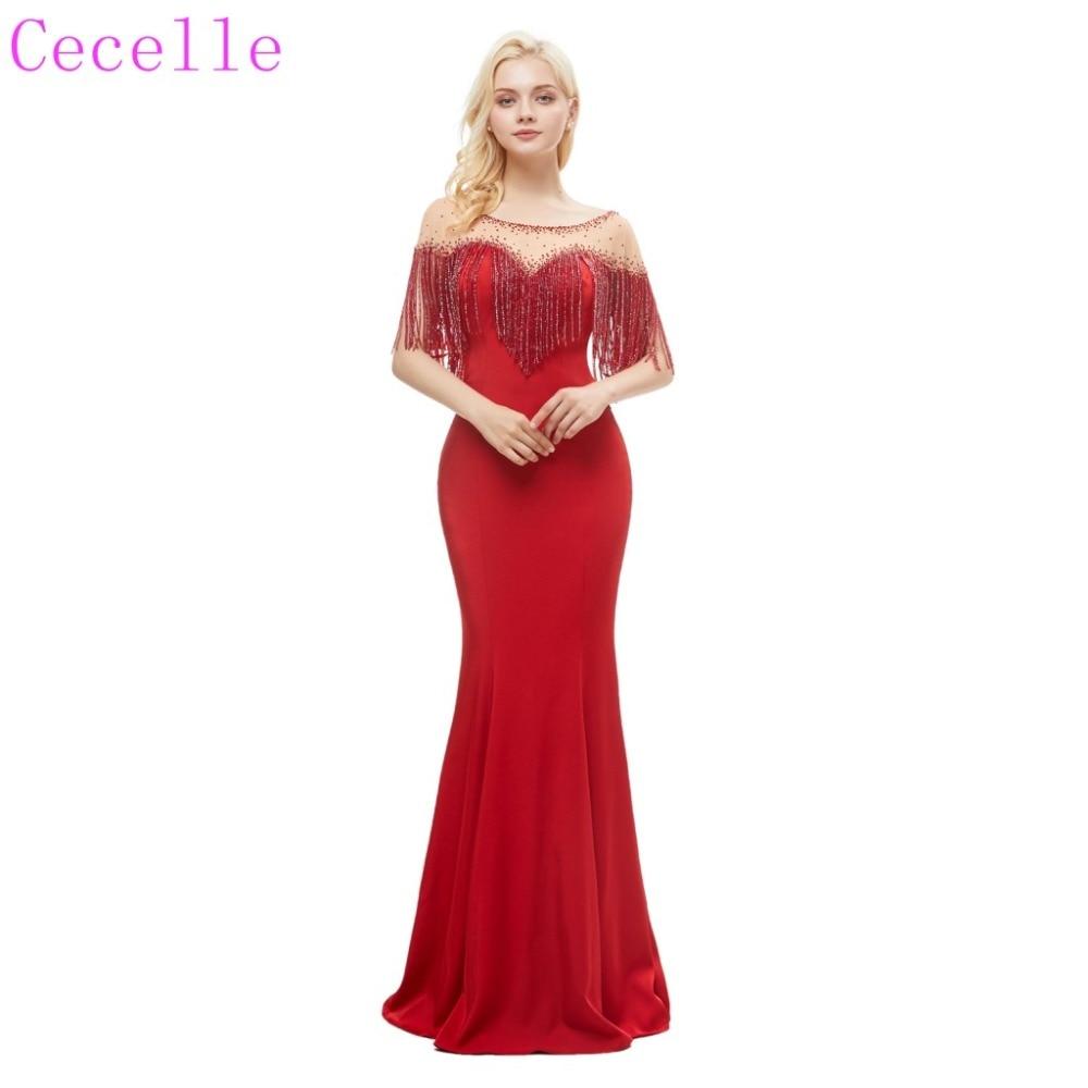 Rouge perles sirène longue robe de soirée 2019 bijou cou Sexy V retour femmes formelle soirée robe de soirée