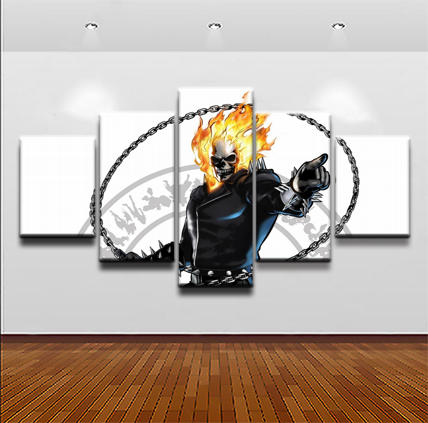 Ghost Rider Movie 5 Pieces Print Poster Canvas Painting Wall Art Living Room HD Print Painting Home Decor Modern Decorative in Painting Calligraphy from Home Garden