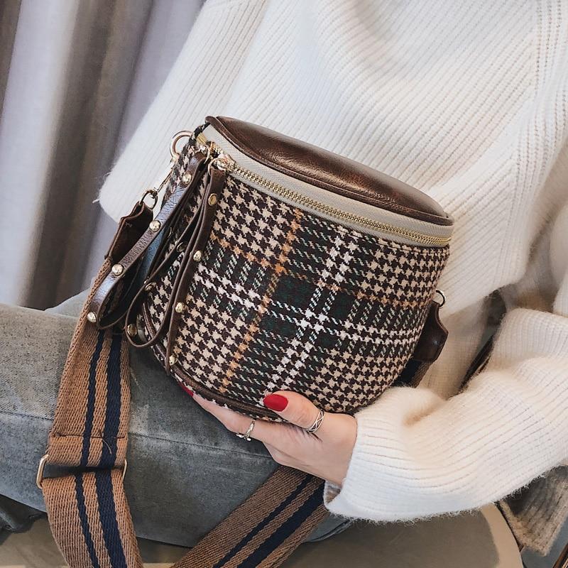 JI HAO Fashion Brands Crossbody Bag For Women Plaid Single Shoulder Bag Female Sling Bag Ladies Vintage Soft Wool Messenger Bag